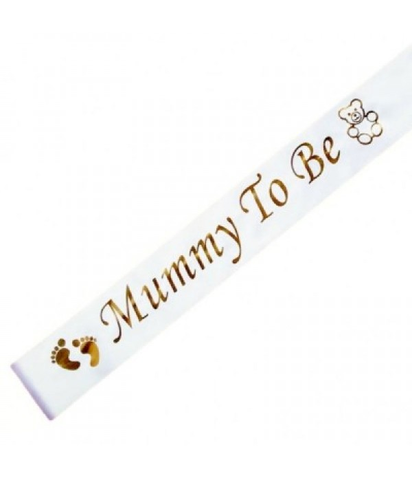 Mummy to Be Sash - White & Gold